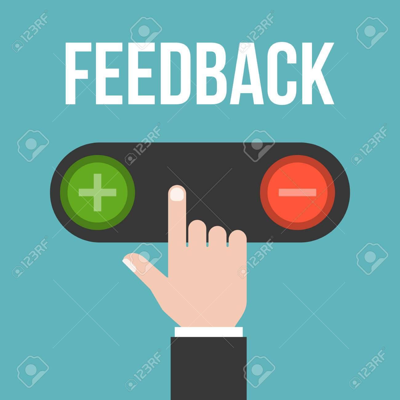 74490593 la main de l homme d affaires choisit de pousser le bouton pour un retour negatif ou positif